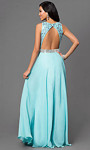 Image of aqua open-back long Dave and Johnny prom dress. Style: DJ-2551 Back Image