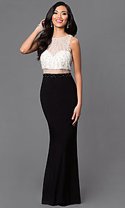 Long Sleeveless Dave and Johnny Illusion Bodice Prom Dress