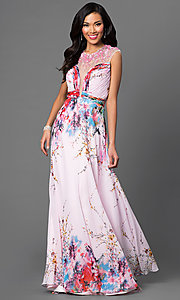 Open Back Floor Length Print Dave and Johnny Dress