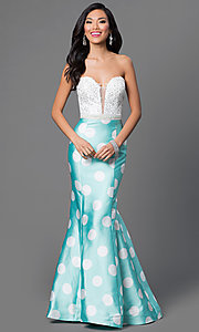 Aqua Mermaid Dave and Johnny Dress with Polka Dot Skirt