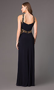 Image of long sleeveless sequin detailed navy blue dress Style: BA-A15619 Back Image