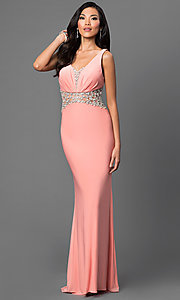 Dave and Johnny V-Neck Floor Length Dress