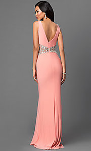 Image of floor length sleeveless jewel embellished sheer waist dress Style: DJ-2620 Back Image