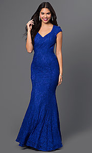 Cap-Sleeve Open-Back Lace Prom Dress by Morgan