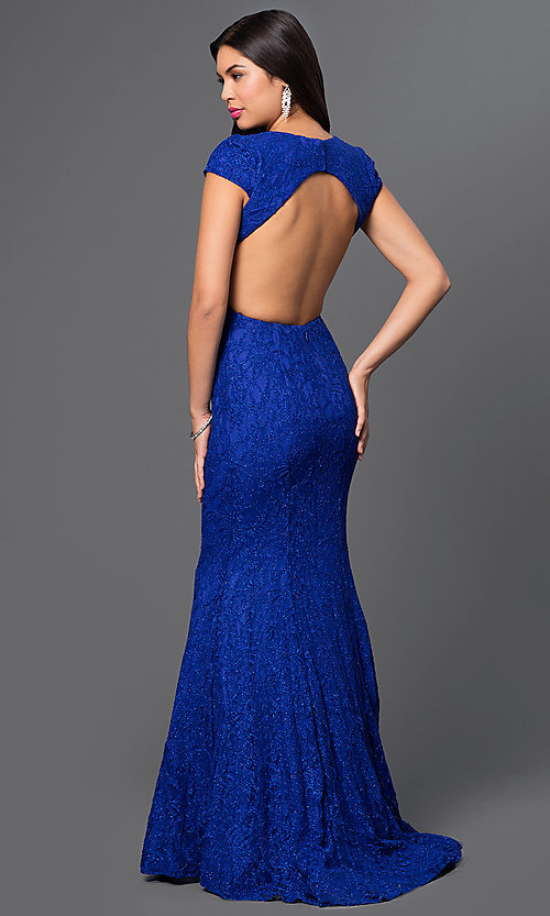 Image of royal-blue lace cap-sleeve v-neck open-back long dress Style: MO-11925 Back Image