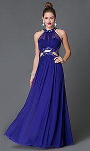 Image of sleeveless high neck illusion sweetheart open back jewel embellished floor length dress Style: MO-11971 Front Image