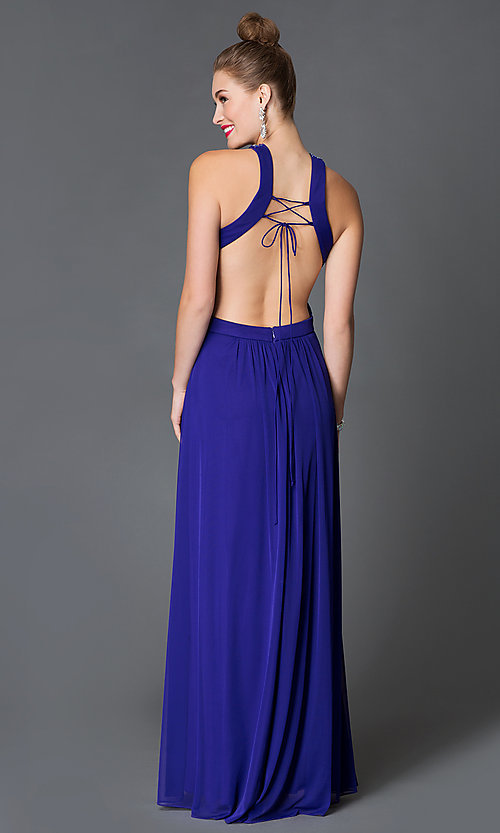 Image of sleeveless high neck illusion sweetheart open back jewel embellished floor length dress Style: MO-11971 Back Image