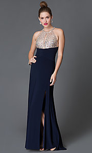 Image of floor-length Morgan dress with sequin-bodice  Style: MO-11980 Front Image