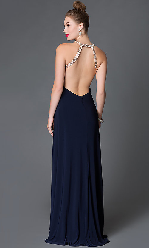 Image of floor-length Morgan dress with sequin-bodice  Style: MO-11980 Back Image