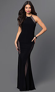 Black High Neck Open Back Prom Dress by Morgan