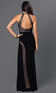 Image of black long high-neck open-back sleeveless nude-panels dress Style: MO-12019 Back Image