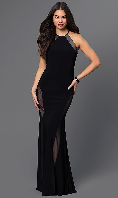 Image of black long high-neck open-back sleeveless nude-panels dress Style: MO-12019 Front Image