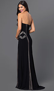 Black Strapless Floor Length Dress with Sheer Panel Detailing
