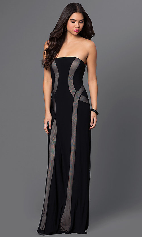 Image of black strapless gown with illusion detailing Style: MO-12023 Back Image
