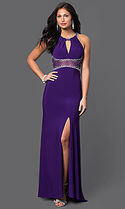 Image of long empire-waist sleeveless open-back prom dress by Morgan Style: MO-12131 Front Image