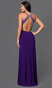 Image of long empire-waist sleeveless open-back prom dress by Morgan Style: MO-12131 Back Image