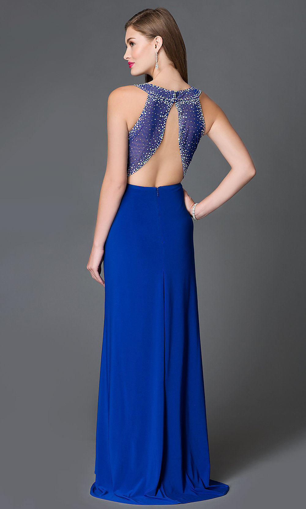 Blue and Gold Prom Dress