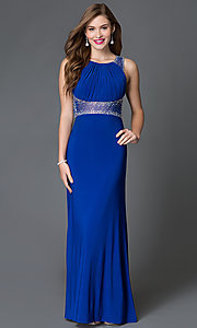 Image of blue open-back pleated-bodice prom dress by Morgan Style: MO-12132 Back Image