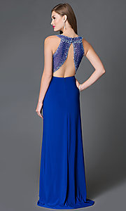 Image of blue open-back pleated-bodice prom dress by Morgan Style: MO-12132 Front Image