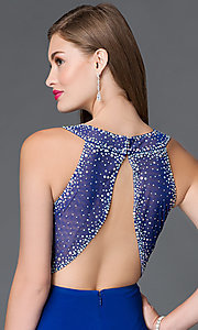 Image of blue open-back pleated-bodice prom dress by Morgan Style: MO-12132 Detail Image 2
