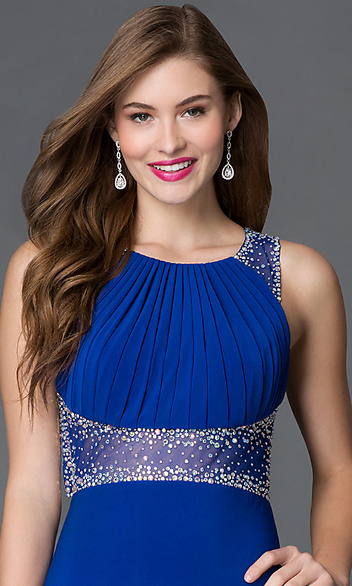 Image of blue open-back pleated-bodice prom dress by Morgan Style: MO-12132 Detail Image 1