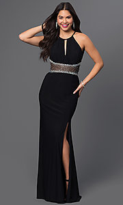 Black Jeweled Sheer-Waist Prom Dress by Morgan