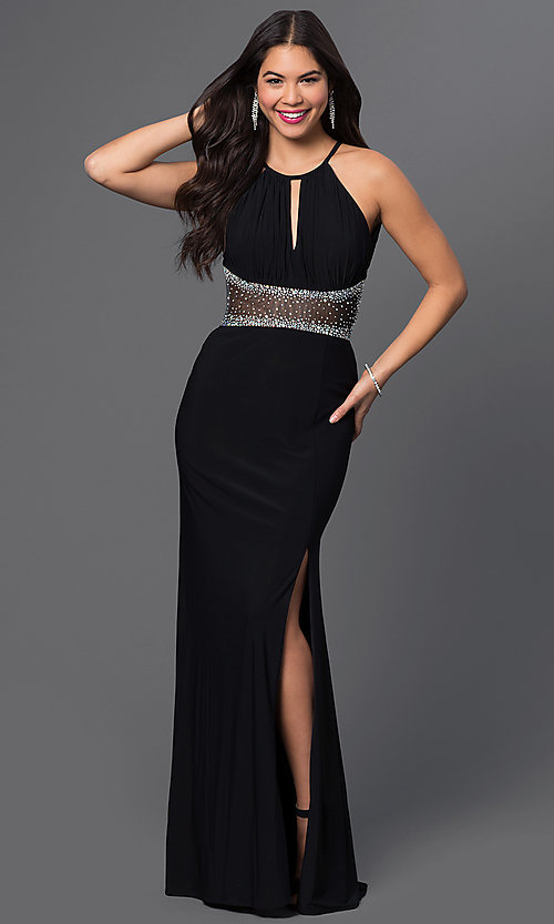 Image of floor-length black jeweled sheer-waist dress Style: MO-12143 Front Image