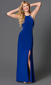 Floor-Length Sheer-Back Cobalt-Blue Morgan Dress