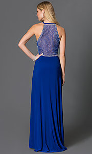 Image of floor-length jewel embellished sheer-back blue Morgan Dress Style: MO-12145 Back Image