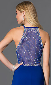 Image of floor-length jewel embellished sheer-back blue Morgan Dress Style: MO-12145 Detail Image 1