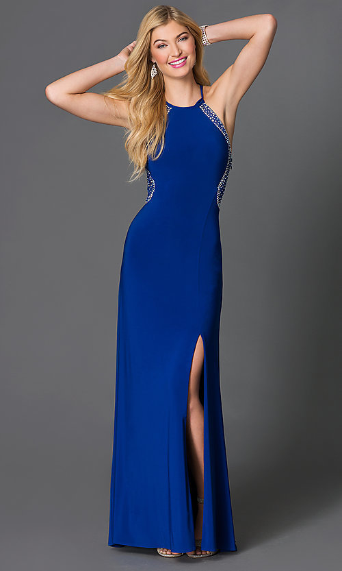 Image of floor-length jewel embellished sheer-back blue Morgan Dress Style: MO-12145 Front Image