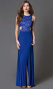 Image of long side-cutout lace-bodice blue prom dress Style: MO-12146 Front Image