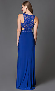 Image of long side-cutout lace-bodice blue prom dress Style: MO-12146 Back Image