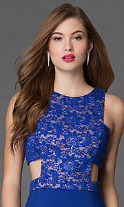 Image of long side-cutout lace-bodice blue prom dress Style: MO-12146 Detail Image 1