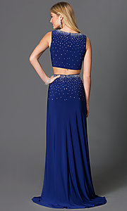 Image of long two-piece rhinestone embellished dress Style: MO-12155 Back Image