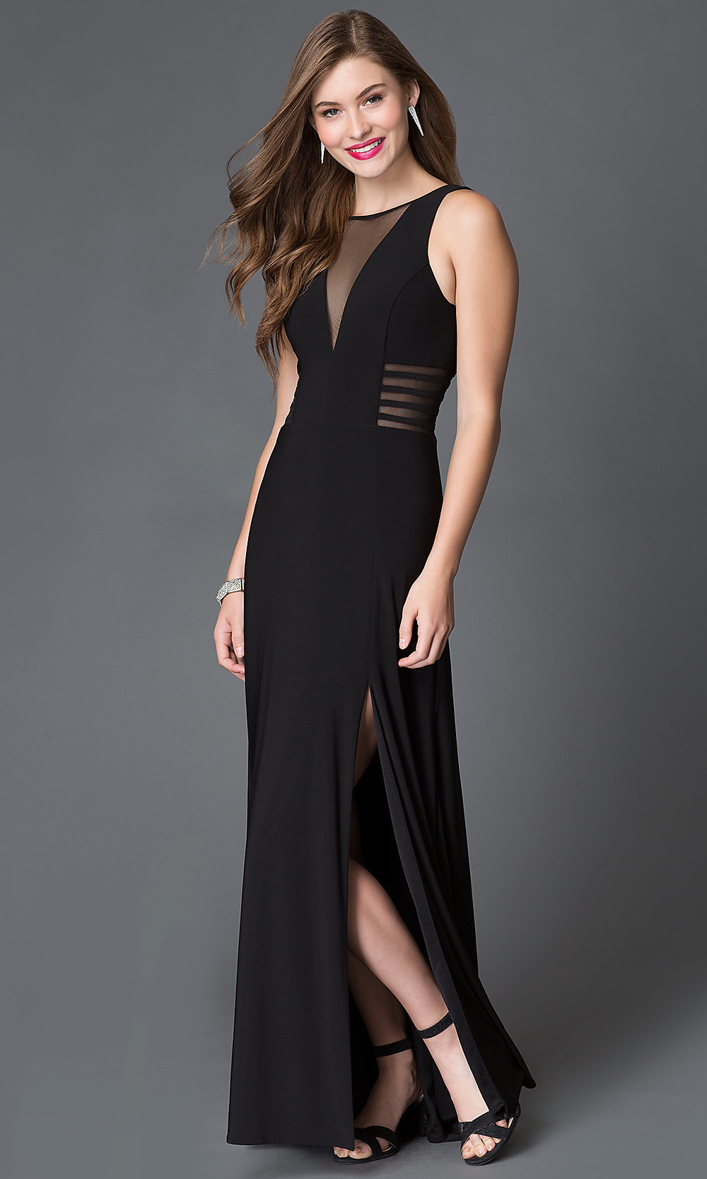 Black Illusion Cut-Out Prom Dress- PromGirl