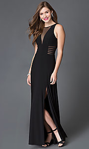 Black Floor Length Illusion Cut-Out Prom Dress