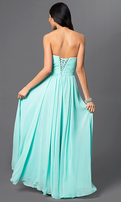 Image of strapless chiffon long prom dress with lace-up back. Style: DQ-8789-v Back Image