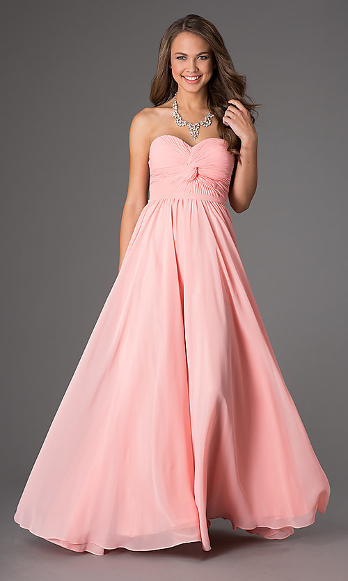 Image of strapless chiffon long prom dress with lace-up back. Style: DQ-8789-v Front Image
