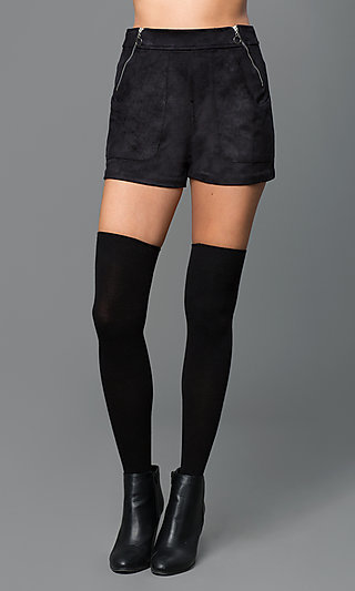 Black High Rise Suede Shorts