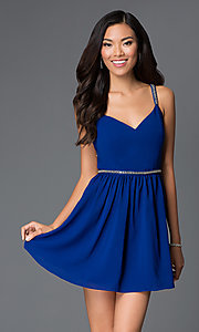 Image of short royal blue v-neck open back beaded straps and waistband dress  Style: AC-DX20968T Front Image