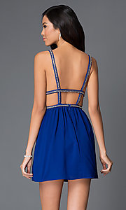 Image of short royal blue v-neck open back beaded straps and waistband dress  Style: AC-DX20968T Back Image