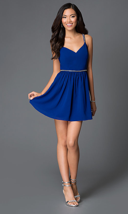 Image of short royal blue v-neck open back beaded straps and waistband dress  Style: AC-DX20968T Detail Image 1