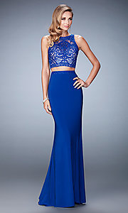 Image of two-piece Gigi long dress by La Femme Style: LF-22581 Detail Image 2