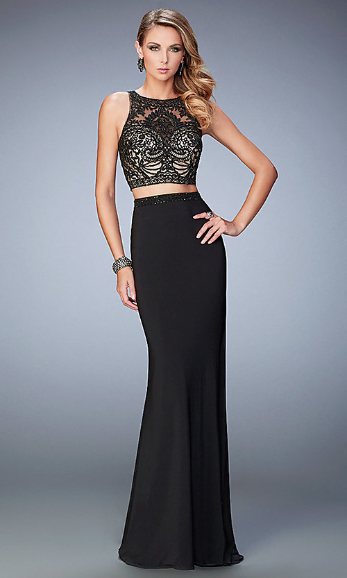 Image of two-piece Gigi long dress by La Femme Style: LF-22581 Front Image