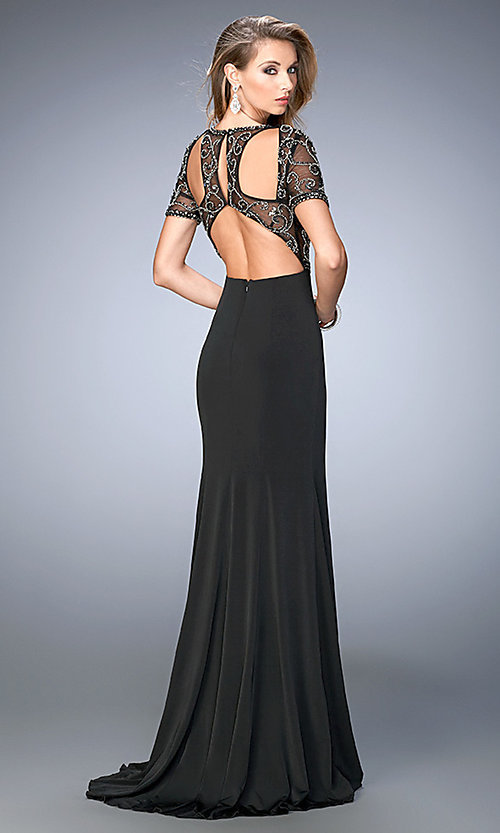 aa1eecce490 Short Sleeve Long Illusion Bodice Open Back Gigi Prom