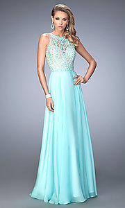 Sheer Back Long La Femme High Neck Prom Dress