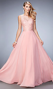 Gigi Floor Length Embroidered Prom Dress