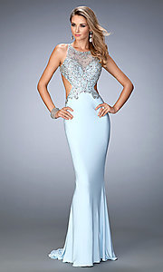 Image of open-back embellished floor-length Gigi prom dress Style: LF-22642 Front Image