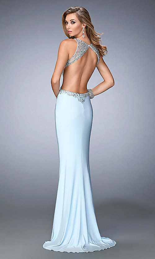 Image of open-back embellished floor-length Gigi prom dress Style: LF-22642 Back Image